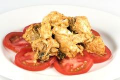 鸡用咖喱粉烹调的沙拉 免版税图库摄影