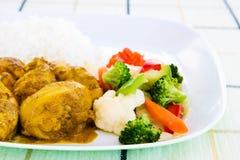 鸡用咖喱粉烹调的米 免版税库存照片