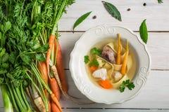 鸡用新鲜蔬菜做的汤面 库存照片