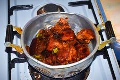 鸡用母亲节晚餐的酱油 免版税图库摄影
