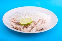 鸡用米和柠檬在板材 库存图片