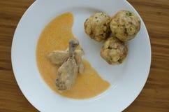 鸡用饺子和辣椒粉调味汁 库存图片