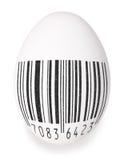 与黑后备地址寄存码的鸡蛋 免版税图库摄影