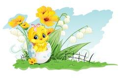 鸡的例证在鸡蛋和铃兰的在黄色花背景的  免版税图库摄影