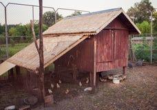 鸡窝在村庄 免版税库存照片
