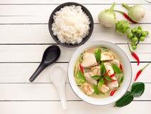 鸡绿色咖喱传统泰国食物 免版税库存图片