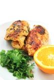 鸡绿色橙色烘烤 库存图片