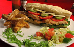 鸡肉三明治 免版税库存照片