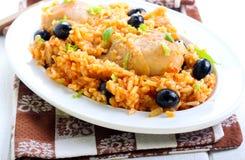 鸡肉和大米砂锅 免版税库存照片
