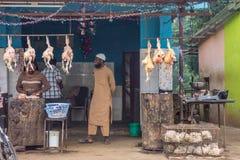 鸡肉店在Kushalnagar, Coorg印度 库存照片