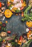 鸡胸脯用南瓜、调味料和有机庭院菜成份,烹调在黑暗的土气背景的准备 免版税库存照片