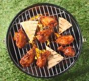鸡腿和皮塔饼在烤在BBQ上添面包 免版税库存照片