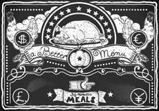 鸡菜单的葡萄酒图表黑板 免版税库存照片