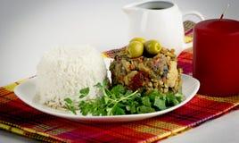 鸡蔬菜炖肉用米 库存照片