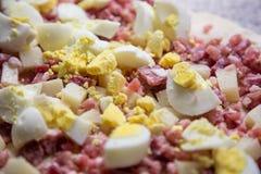 鸡蛋、蒜味咸腊肠和烟肉的混合 免版税库存照片