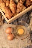 鸡蛋为在大袋做面包店 免版税图库摄影