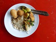 鸡蛋和米,曼谷,泰国 库存照片