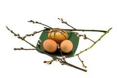 鸡蛋和蛋糕在板材和杨柳 库存图片