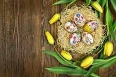 鸡蛋和郁金香的复活节装饰 库存图片