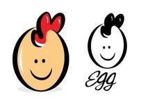 鸡蛋微笑农厂商标 库存图片