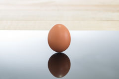 鸡蛋有木背景 免版税库存照片