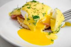 鸡蛋本尼迪克特在一块白色板材的早餐,液体卵黄质 免版税库存图片
