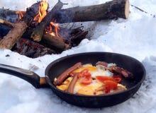 鸡蛋油煎了香肠 免版税库存图片