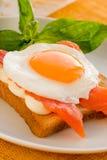 鸡蛋油煎的三文鱼 免版税图库摄影