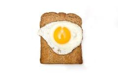 鸡蛋油煎的多士全麦 图库摄影