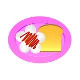 鸡蛋油煎的sause蕃茄和面包 免版税库存照片