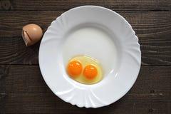 鸡蛋用双重卵黄质 免版税库存图片