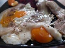 鸡蛋用烟肉 库存图片