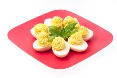 鸡蛋用装饰的蛋黄酱 免版税库存照片