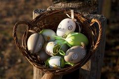 鸡蛋的不同的类型在一个篮子的木表面上 图库摄影