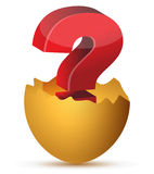 鸡蛋的例证与红色问号的 库存照片