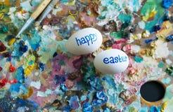 鸡蛋着色在天神圣的复活节之前 图库摄影