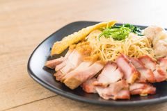 鸡蛋面用红色烤肉、酥脆猪肉、饺子和汤 免版税图库摄影