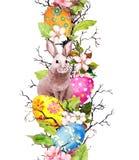 鸡蛋,兔宝宝,春天开花花,分支,绿色离开 复活节的花卉无缝的边界 水彩 库存照片