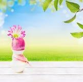鸡蛋,在天空、草和春天绿色背景的白色木桌离开 免版税库存图片