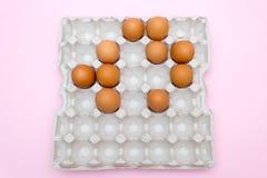 鸡蛋,在桃红色背景的鸡蛋 怂恿盘子 免版税库存照片
