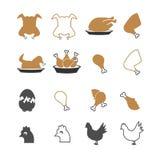 鸡被设置的食物象 免版税库存照片