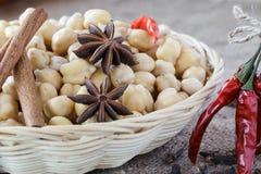 鸡豆和香料印地安食物的。 免版税库存图片