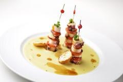 鸡豆微型章鱼三明治和大豆奶油  库存照片
