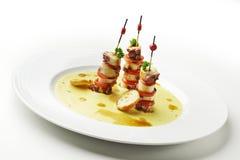 鸡豆微型章鱼三明治和大豆奶油  免版税库存图片