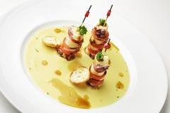 鸡豆微型章鱼三明治和大豆奶油  库存图片