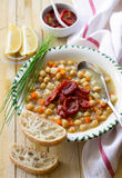 鸡豆汤用各式各样的蕃茄 库存图片