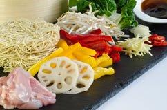 鸡食物成份mein 库存图片