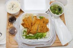 鸡食物日本katsu采取 免版税库存图片