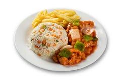 鸡食物mein一个普遍的东方盘可利用在汉语去掉 中国食物 库存图片