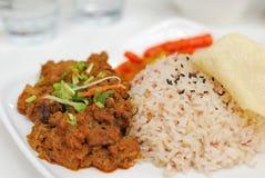 鸡马来的羊肉红色米素食主义者 免版税图库摄影
